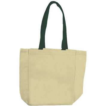Cotton Woven Bags - Natural/Forest Green