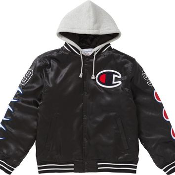 34cfafc6 Supreme Champion Hooded Satin Varsity Jacket in Black