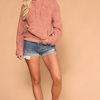 Evergreen Mauve Sherpa Pullover Hoodie Top