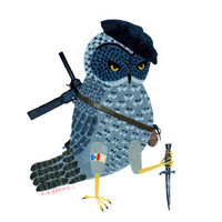 $15.00 french resistance owl  print by medusawolf on Etsy
