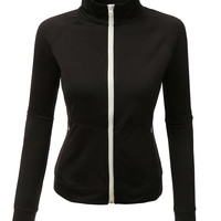 LE3NO Womens Active Mock Neck Fleece Sports Jacket Top with Thumb Hole (CLEARANCE)