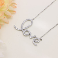 925 sterling silver cubic zirconia Love lettering necklace