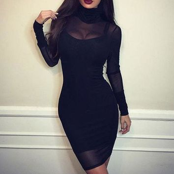 Women Black Bodycon Lace Evening Cocktail Party Long Sleeve Mini Dress