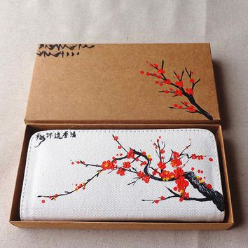New China Hand Painted Wind Elegant Plum Blossom Pattern Purses Fashion Women's Wallet Folk Features Tourism Scenic Spot Wallets