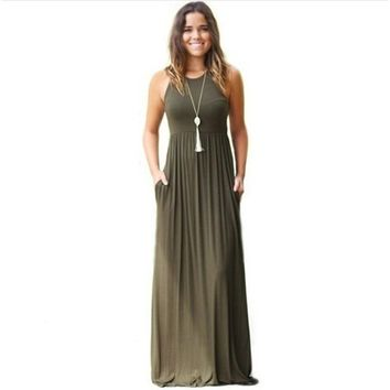 Army Green Strapless Long Beach Dress