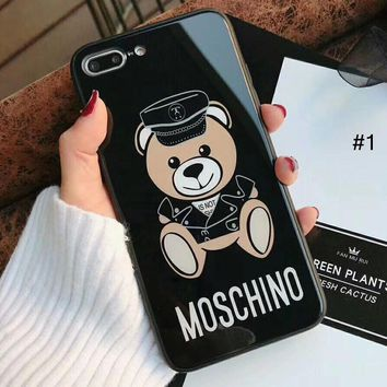 Moschino Tide brand Teddy Bear Glass Mirror iPhone X Case Cover #1