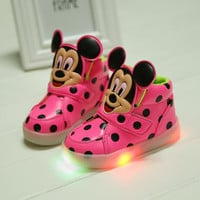 children shoes with light new spring sport running girls fashion cartoon minnie sneakers kids led breathable boys shoes 4 colors