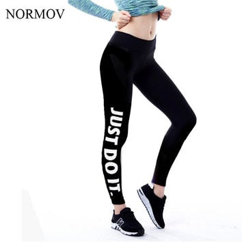 NORMOV S-XL 19 Colors Women Leggings Workout Plus Size Just Do It Pink Printed Women Fashion Loose Letter Leggings Women
