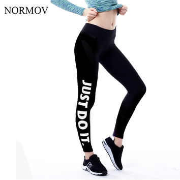 NORMOV S-XL 5 Colors Women Leggings Workout Plus Size Just Do It Pink Printed Women Fashion Loose Letter Leggings Women