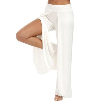 Elasticity Wide Flowy Long Loose Pants