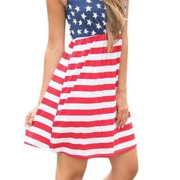 Hot American Flag Printing Womens Summer Dress 2017 Vintage Sexy Sleeveless Fit and Flare Cotton Mini Dress Femme Vestidos