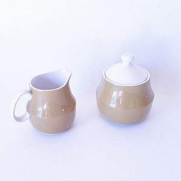 Vintage Coffee Set Esperanto Guild China Pottery Small Covered Bowl with Matching Pitcher Avocado Green Pottery Midcentury China Dinnerware