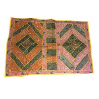 Mogul Home Decor Tapestry Hand Crafted Sequin Work Patchwork Ethnic Vintage Table Runner - Walmart.com