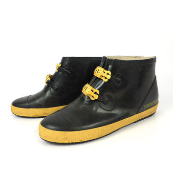 Rubber Boots Shoes Vintage 1980s Black and Yellow Popcorn Women's size 8