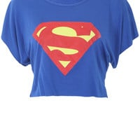 Superman Crop Top in Royal Blue (MORE COLOURS) - Womens Clothes, Ladies Clothes, Womens Fashion, Cheap Clothes Online | Miss Rebel
