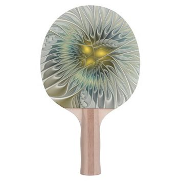 Golden Flower Fantasy, abstract Fractal Art Ping Pong Paddle