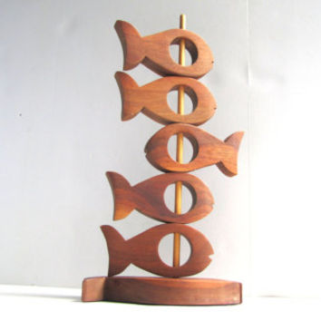 Mid Century Modern Teak Fish Napkin Ring Holders with Caddy (6)
