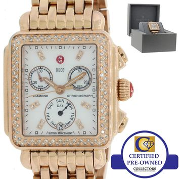 Ladies Michele Deco Chronograph Rose Gold Diamond MW06P01B4046 33mm Watch wBox