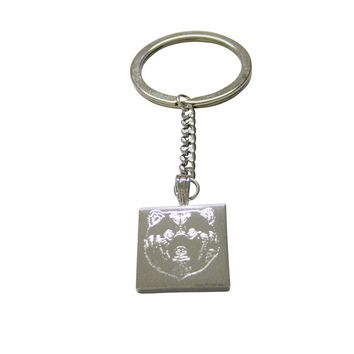 Silver Toned Etched Bear Head Keychain