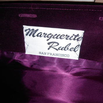 50s 60s Vintage Designer Coat / Marguerite Rubel / Rubel Clothing / Old Hollywood / Merlot Evening Coat / Opera Coat / Velvet Coat
