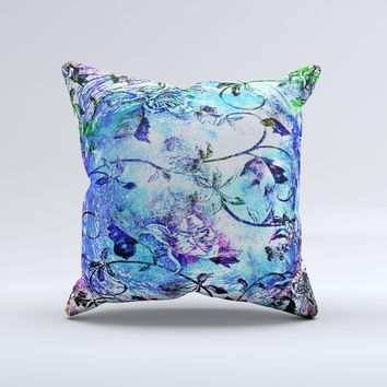 Black & Bright Color Floral Pastel Ink-Fuzed Decorative Throw Pillow