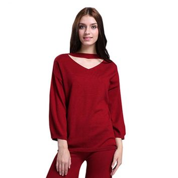 Women's V-Neck Cashmere Pullovers Warm Knitwear Casual Fashion Knitted Sweaters