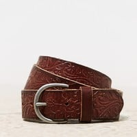 AEO Women's Pressed Leather Belt (Brown)