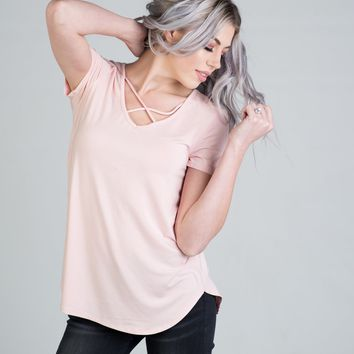 Short Sleeve Criss Cross Top in Baby Pink