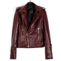 Buy Fashion Zipped Lapel Collar Slim Leather Jacket Red with cheapest price|wholesale-dress.net