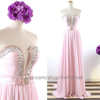Strapless Sweetheart Long Pink Prom Dresses, Pink Chiffon Prom Gown, Crystals Chiffon Formal Dresses