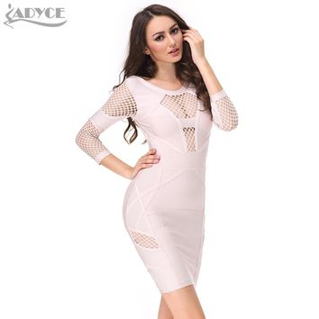 Women New Bandage Dress beige black yellow blue Long Sleeve Hollow out Backless sexy Celebrity Runway Bodycon Party Dress