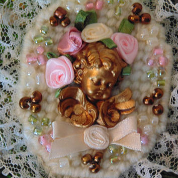 Victorian Angel Cherub Ornament Mixed Media Ornament, Valentine's Gift Tag Package Tag Garland Decor Wreath Decor