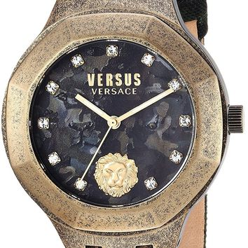 Versus by Versace Men's 'LAGUNA CITY' Quartz Gold-Tone and Leather Casual Watch, Color:Green (Model: VSP350217)