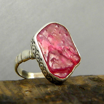 Statement big ruby ring sterling silver rough ruby gemstone engraved cocktail pink ring
