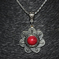 Silver/ Red Stone Flower Shaped Pendant Necklace