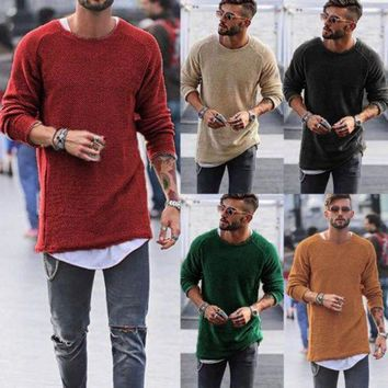 PEAPFS2 Thefound Fashion Spring Fall T-Shirts Mens Casual Longline curved hem Knit T-shirt Top Hip Hop Swag Long Body Tee Tall Elongated