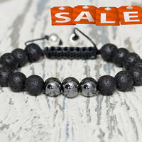 men bracelet shamballa black bead bracelet birthday gift under 20 lava protection amulet mens jewelry him beaded bracelets string adjustable