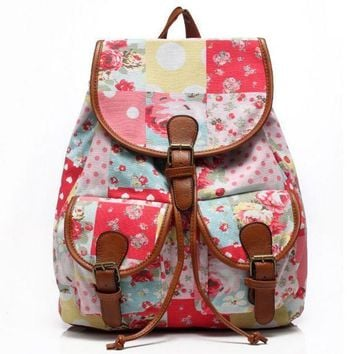 CREYON Day First Cute Floral Painting Large College Backpacks for School Bag Canvas Daypack Travel Bag