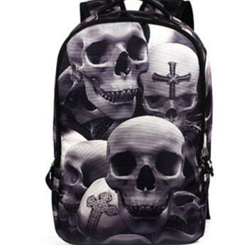 Cool Backpack school 2018 Hot Sale 3D Cartoon Printing Backpack Men Woman Fashion Punk Rock Backpacks Skull Backpack Middle School Student Cool Bags AT_52_3