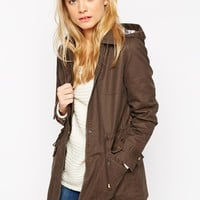 ASOS Wax Jacket With Check Liner