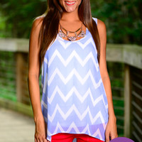 Polka Dot Chevron Tank, Blue