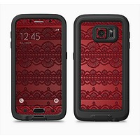 The Dark Red Highlighted Lace Pattern Full Body Samsung Galaxy S6 LifeProof Fre Case Skin Kit