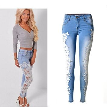 Denim Skinny Hollow Out Lace Stitching Mid-Waist Sky Blue Pants Stretchable Full Length jeans