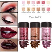 FOCALLURE Pro Makeup Eye Shadow Powder Long Lasting Shimmer Pigments Sexy Nude Glitter Loose Eyeshadow Diamond Lips Comestic