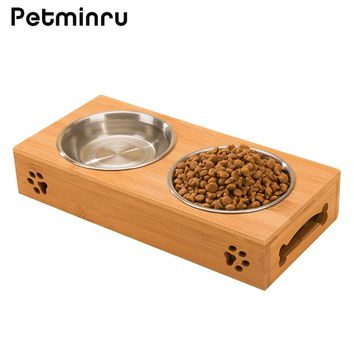 Petminru pet dog bowl bamboo stainless steel double food water teddy dog feeder cat bowl pet food bowls