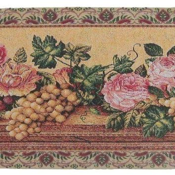 DaDa Bedding Romantic Parade of Fruit & Roses Floral Tapestry Table Runner (14426)