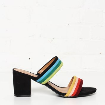 Warner Striped Block Heel Mule Sandal - Rainbow