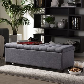 Baxton Studio Roanoke Modern and Contemporary Dark Grey Fabric Upholstered Grid-Tufting Storage Ottoman Bench Set of 1