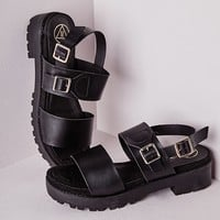 CLEATED BUCKLE SANDALS BLACK