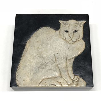 Cat Soapstone Trinket Decor Box